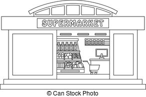 picture black and white download Black and white station. Supermarket clipart outline