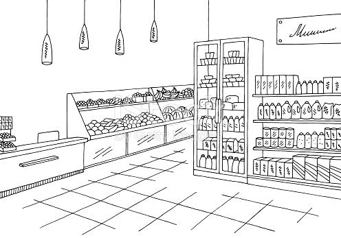 banner royalty free stock Supermarket clipart outline. Grocery store shop interior