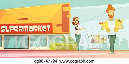 picture freeuse library Supermarket clipart outside. Vector stock shopping outdoor.