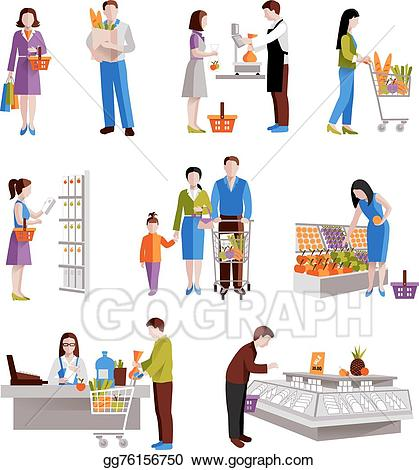 graphic free Supermarket clipart people. Vector stock in illustration