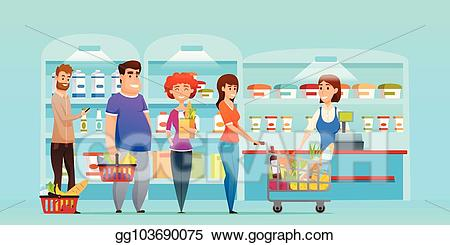 png transparent stock Eps illustration customer queue. Supermarket clipart people