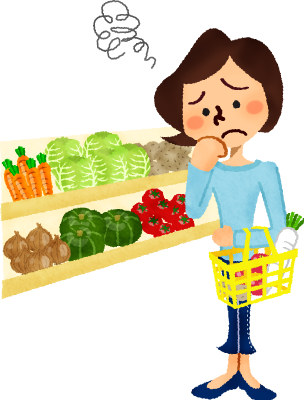 clipart library Worried woman shopping vegetables. Supermarket clipart people