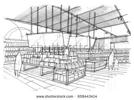 image freeuse Drawing at paintingvalley com. Supermarket clipart perspective