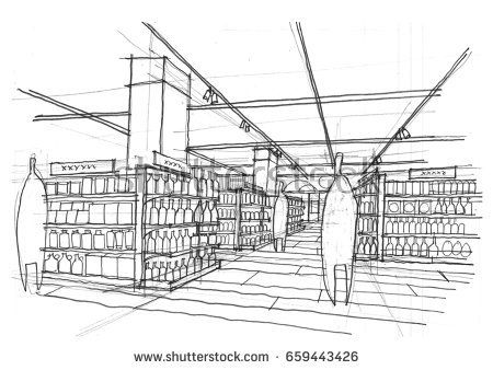 black and white Supermarket clipart perspective. Paintings search result at