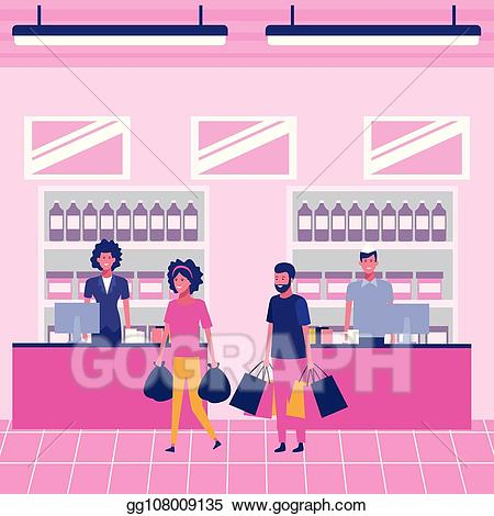 jpg download Vector illustration people on. Supermarket clipart pink.