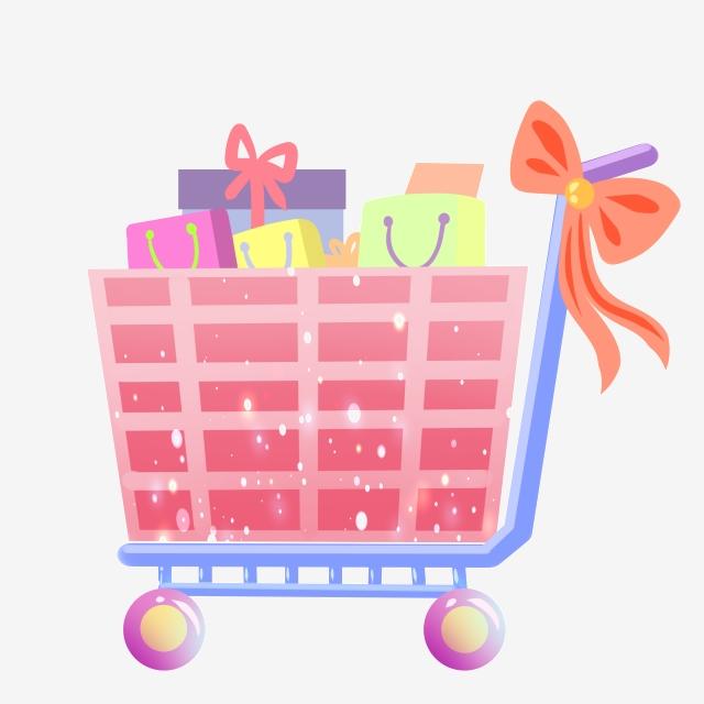 graphic free Supermarket clipart pink. Hand drawn cart illustration