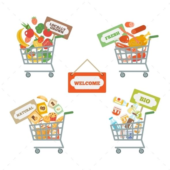 image Cart with food vectors. Supermarket clipart pixel art