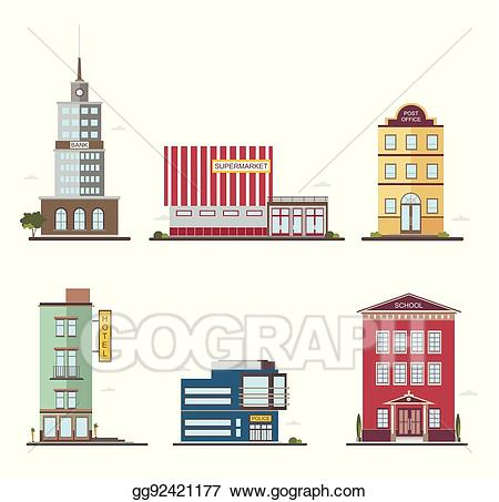 clipart transparent library Supermarket clipart post office building. Vector illustration modern buildings.