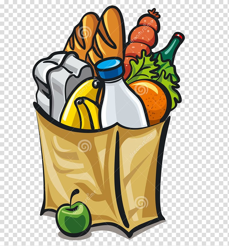 vector Grocery shopping bags trolleys. Supermarket clipart provision store