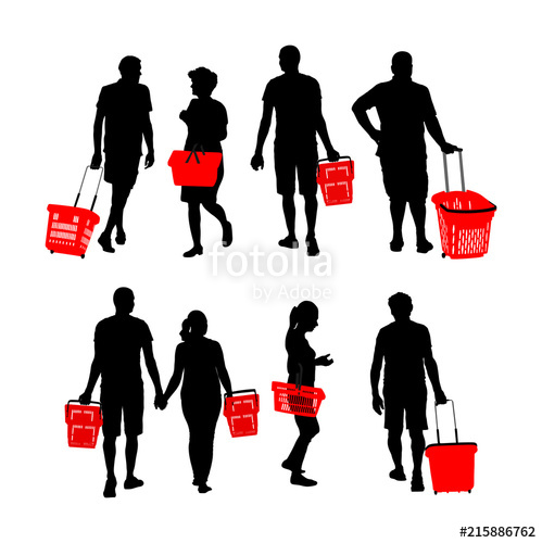 image freeuse stock Supermarket clipart purchase. Man and woman doing