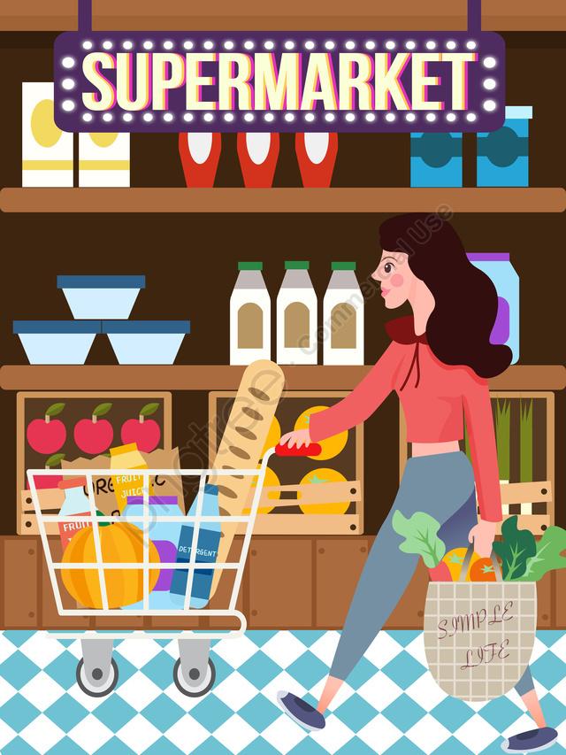 png stock Supermarket clipart scene. Shopping festival activity big