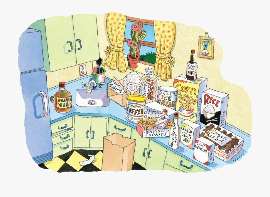 clip freeuse download Kitchen with many grocery. Supermarket clipart scene