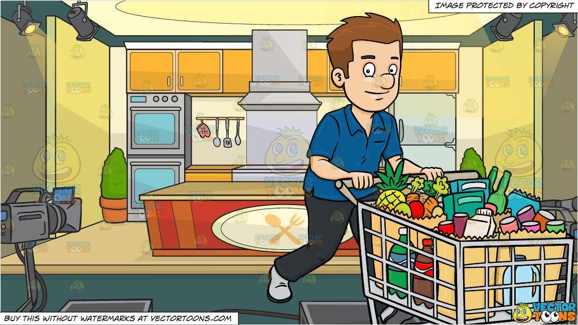 clip freeuse stock Supermarket clipart scene. Cartoon a man smiles