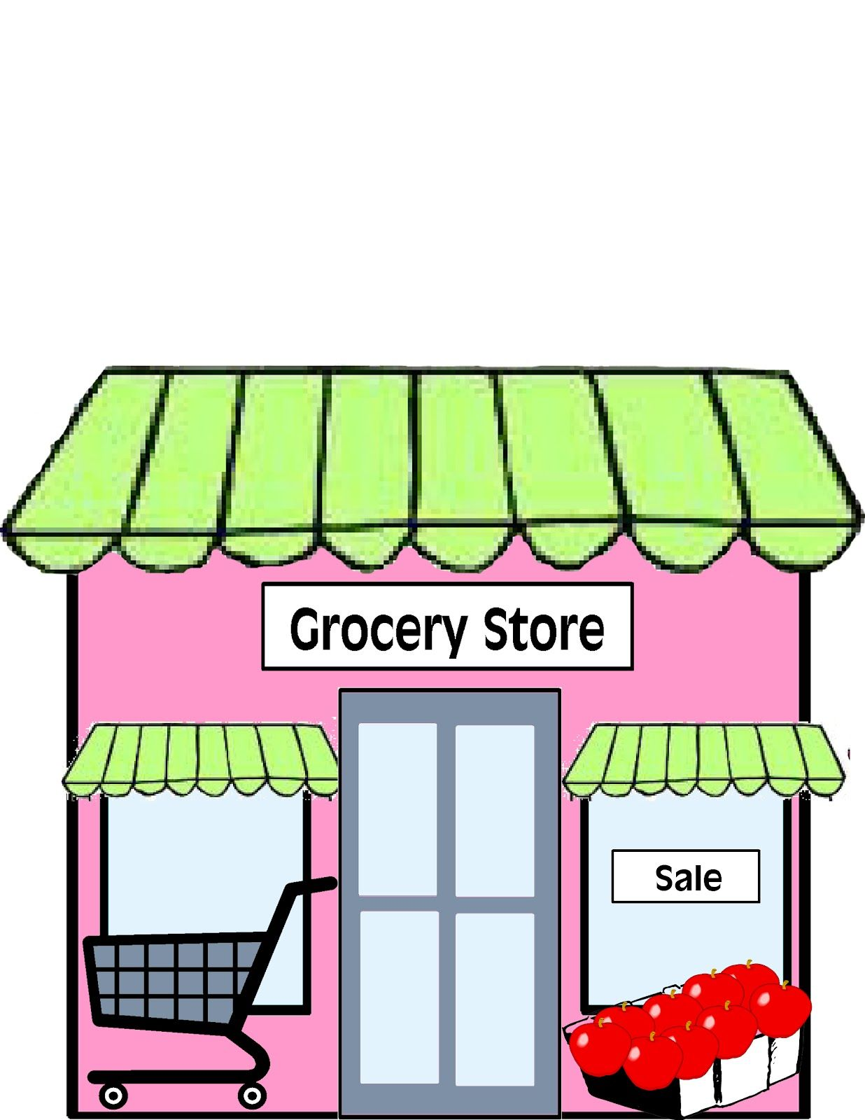 svg royalty free Supermarket clipart shopfront. Eight buildings to use