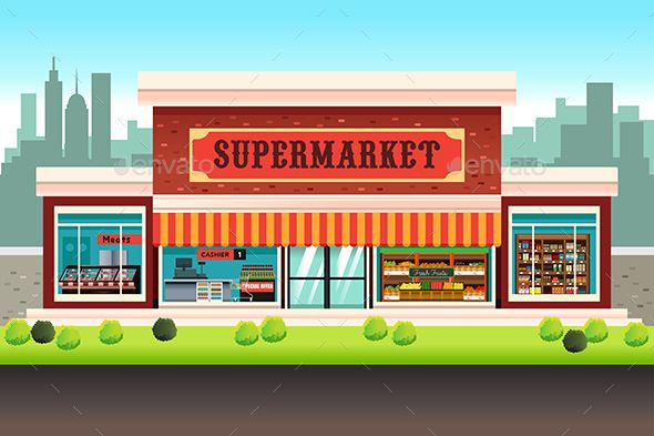 clip art royalty free stock A vector illustration of. Supermarket clipart shopfront