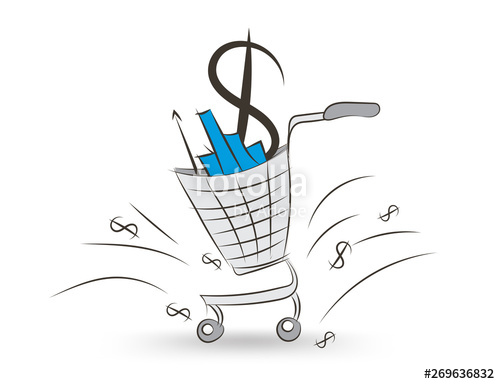 clip art black and white download Supermarket clipart sketch. Shopping cart vector illustration.