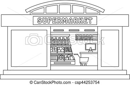 clip art freeuse download At paintingvalley com explore. Supermarket clipart sketch.