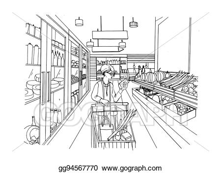 svg Supermarket clipart sketch. Vector art interior with.