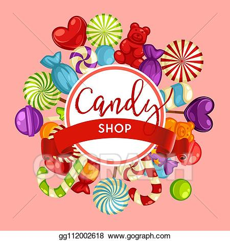 banner transparent library Supermarket clipart snack shop. Vector art candy lollipops