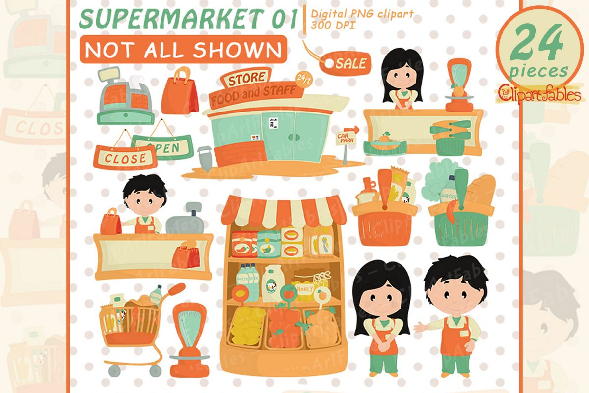 vector library library Supermarket clipart staff. Cute grocery shop art
