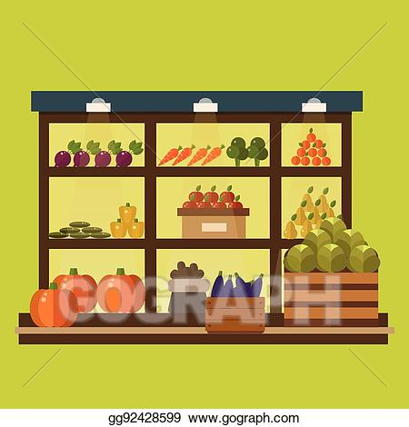 png freeuse download Eps illustration fruit and. Supermarket clipart stall