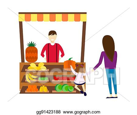 clip free download Supermarket clipart stall. Vector illustration street seller