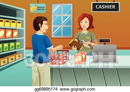 vector freeuse download Eps vector cashier working. Supermarket clipart store employee.