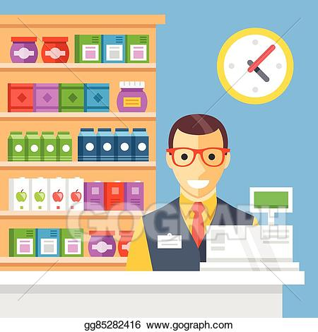 vector freeuse library Supermarket clipart store employee. Vector checkout and cashier.