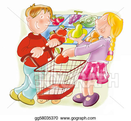 clip library Shopping cart stock illustration. Supermarket clipart suppermarket