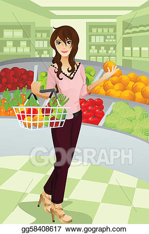 clip freeuse download Supermarket clipart vector. Art woman shopping grocery