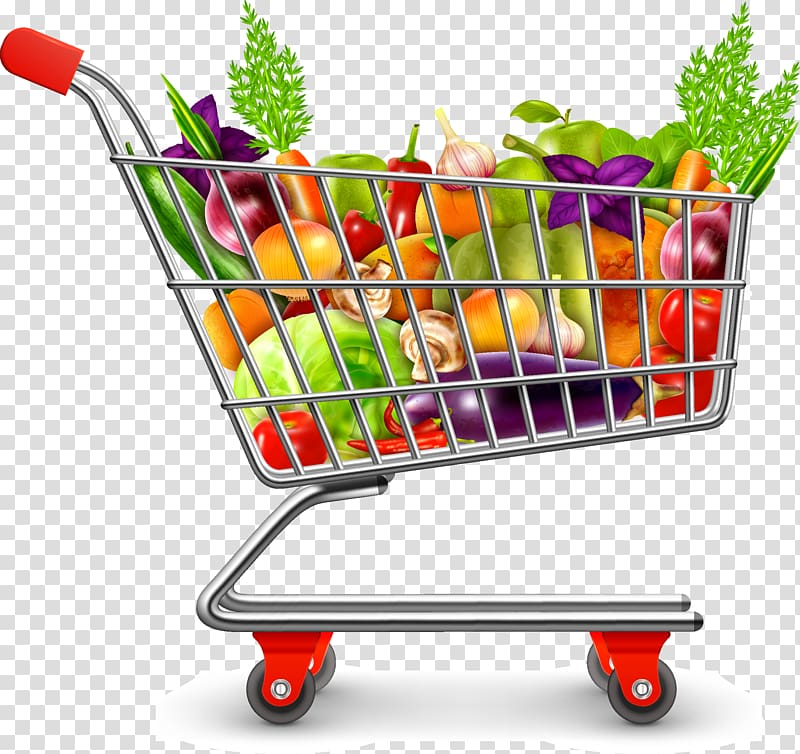 clipart transparent stock Shopping cart full with. Supermarket clipart vegetable shop