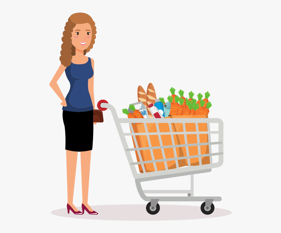 svg royalty free download Supermarket clipart woman. Shopping lady in image