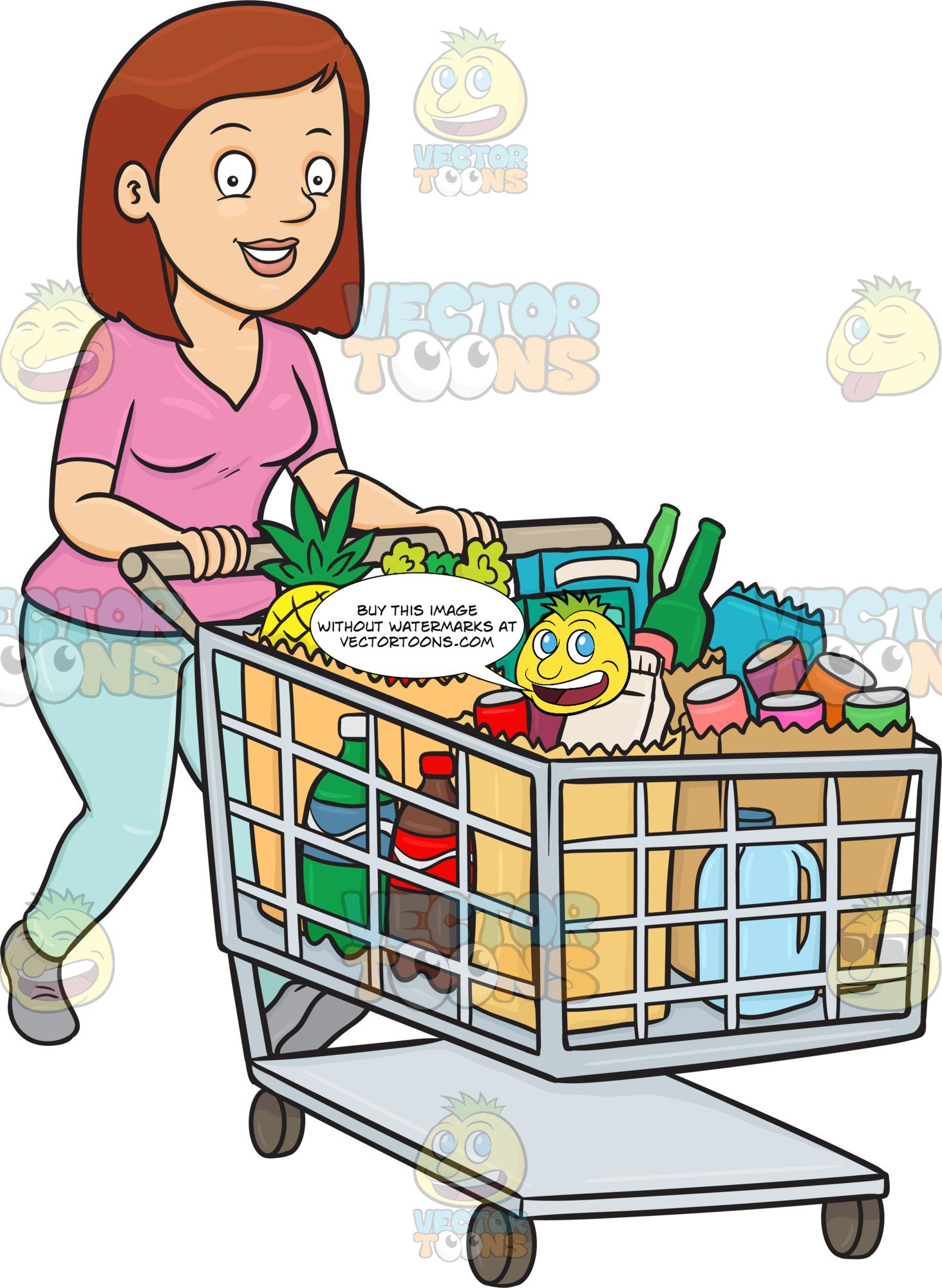 picture free stock A smiles after checking. Supermarket clipart woman