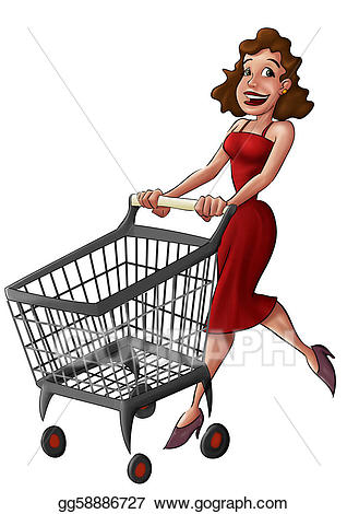 jpg library stock Stock illustration in a. Supermarket clipart woman