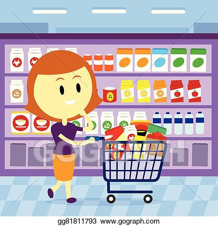 png library stock Vector stock grocery shopping. Supermarket clipart woman