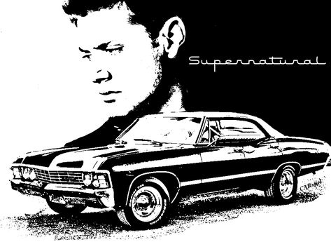 banner black and white library Deanimpala by carstiel deviantart. Supernatural vector.