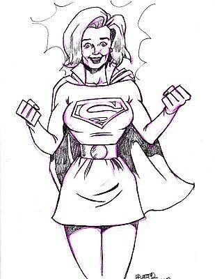 jpg freeuse library Superwoman drawing. Original supergirl by burpo