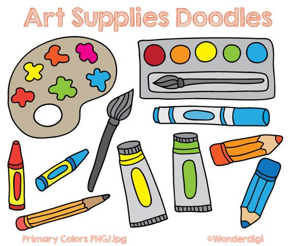 picture black and white download Clipart art supplies. Clip doodles kids school.