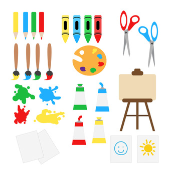 banner royalty free download Class school clip back. Clipart art supplies.