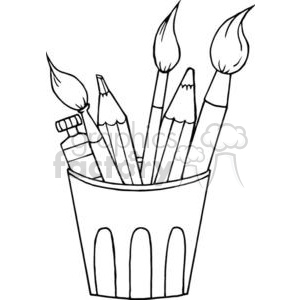 clip art freeuse stock Art supplies clipart black and white. Royalty free