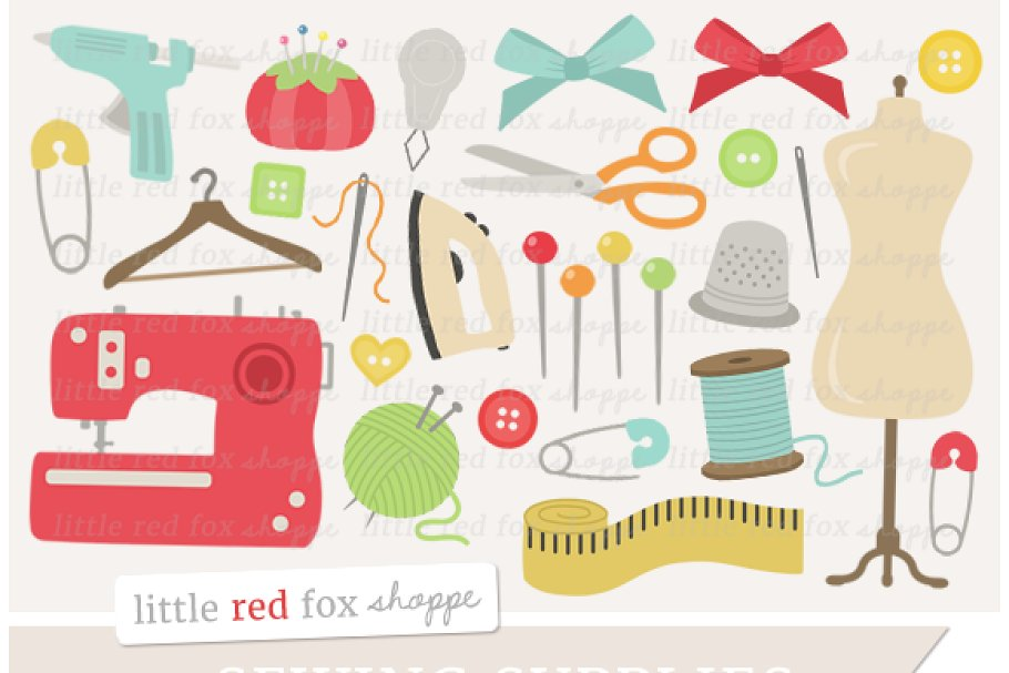 clip freeuse library Illustrations creative market . Supplies clipart sewing