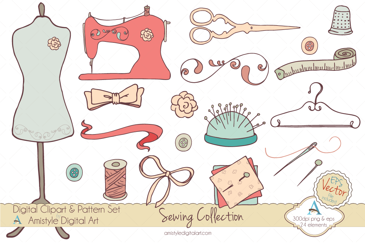clip art Supplies clipart sewing. Hand drawn set perfect