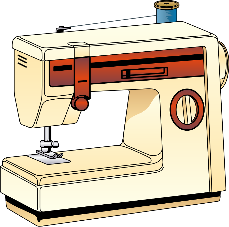svg black and white library Supplies clipart sewing. Machine simple free on