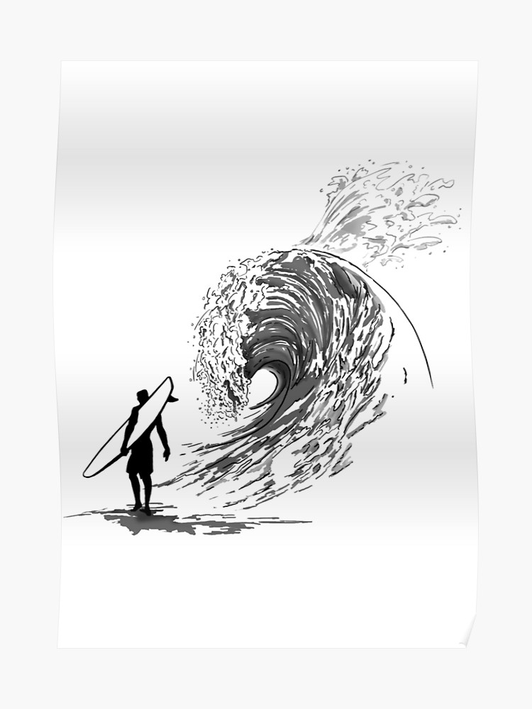 graphic freeuse library Surfer drawing. Wave draw sea surf