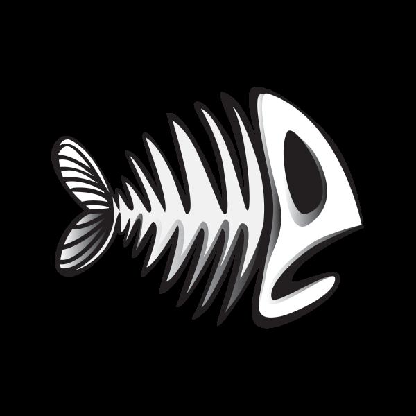 clipart black and white library Bones transparent fish. Printed vinyl skull skeleton