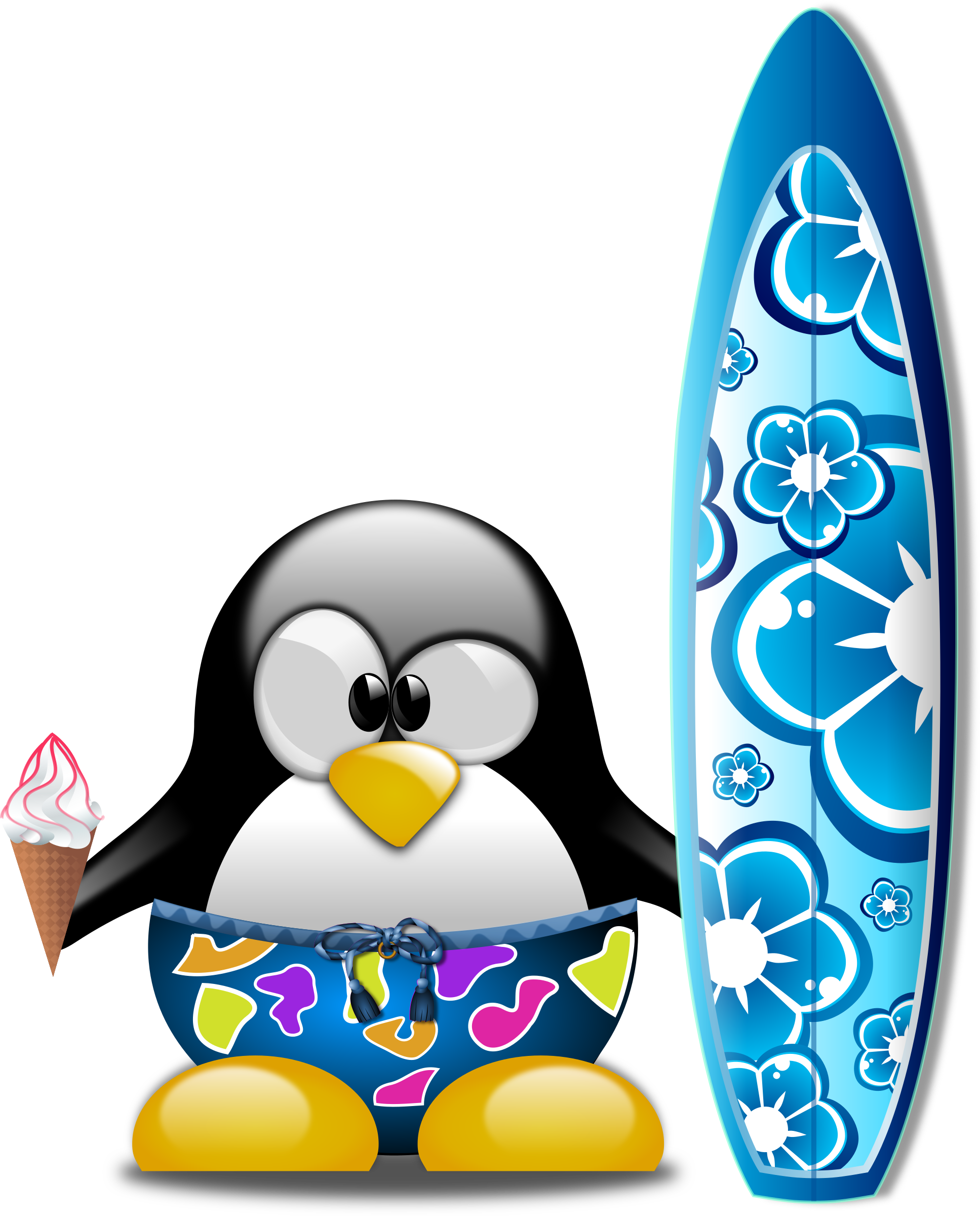 image transparent stock Tux the surfer big. Surfboard clipart surf shorts