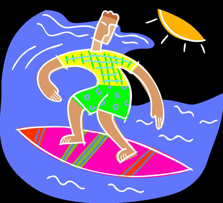 graphic transparent download Surfer Surfs Waves on Surfboard