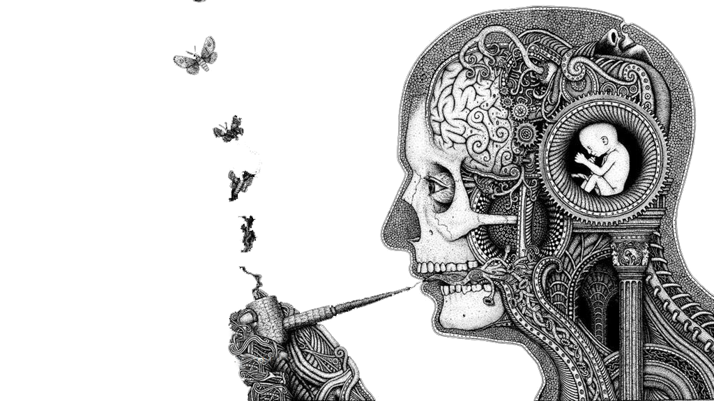 clip art library Thought illustration irritability smoking. Surrealism drawing.