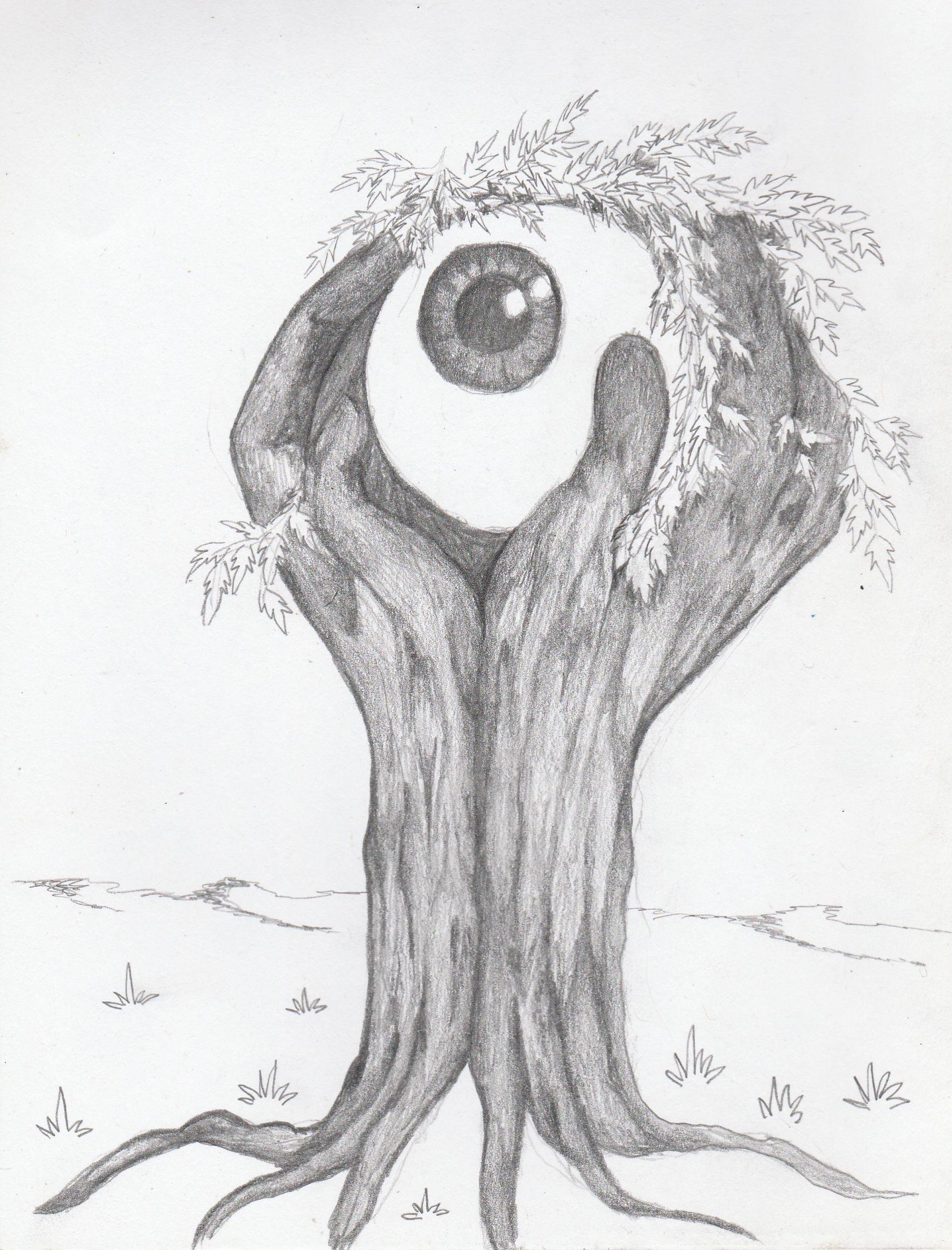 freeuse download Tree hand eye ball. Surrealism drawing.