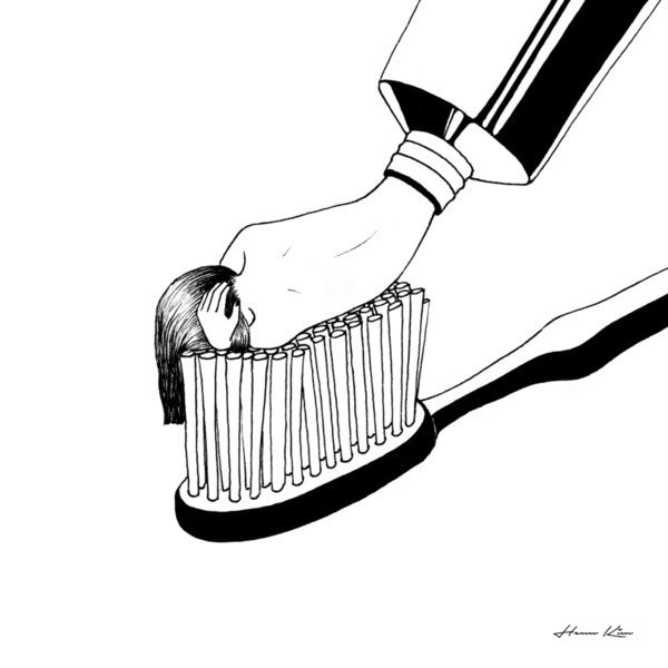 clip art free stock Black and white surreal illustrations by Henn Kim in